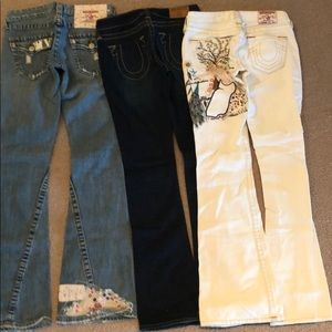 True Religion size 25 three pairs of jeans
